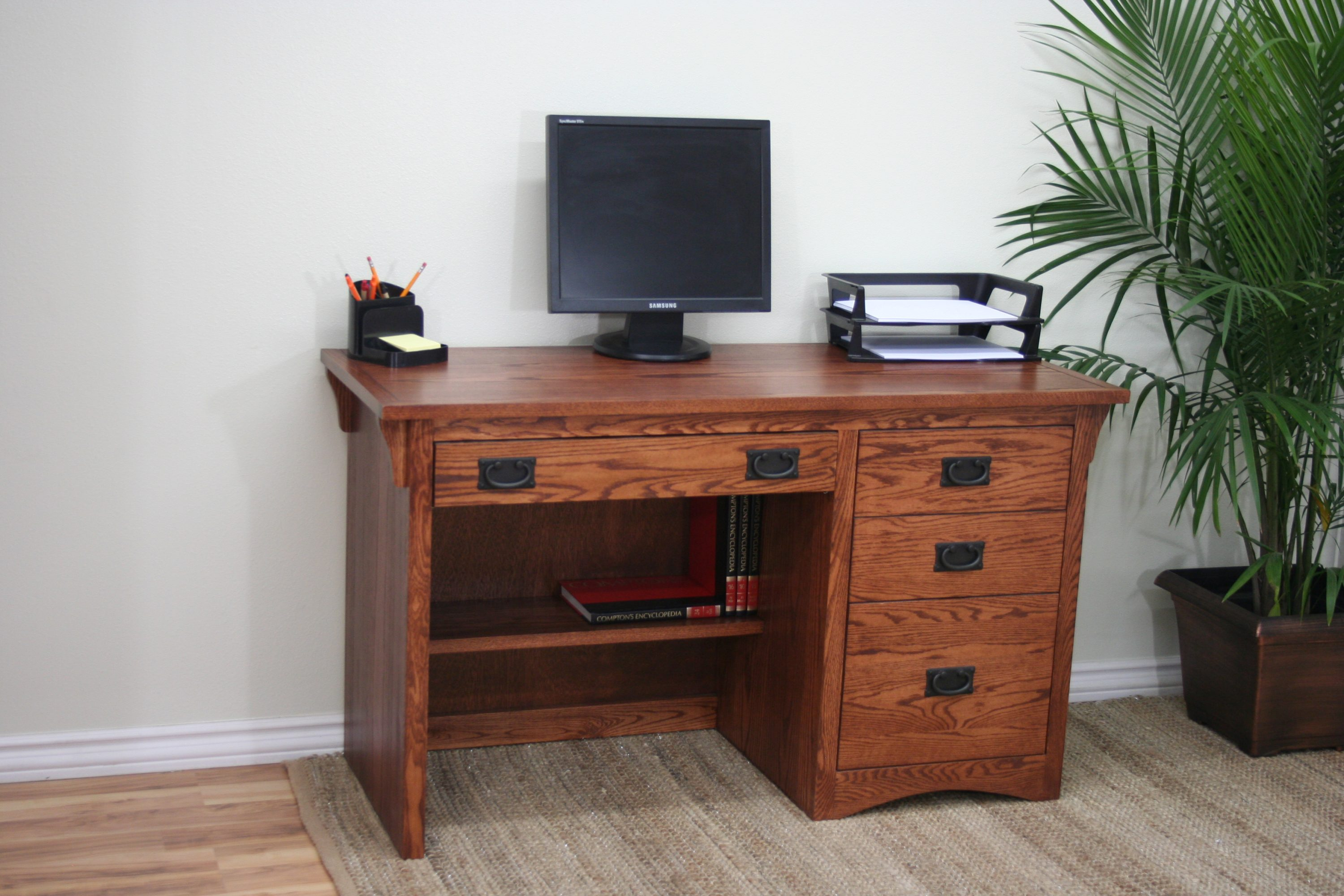 O M642 Mission Oak 50 3 Drawer Student Computer Desk