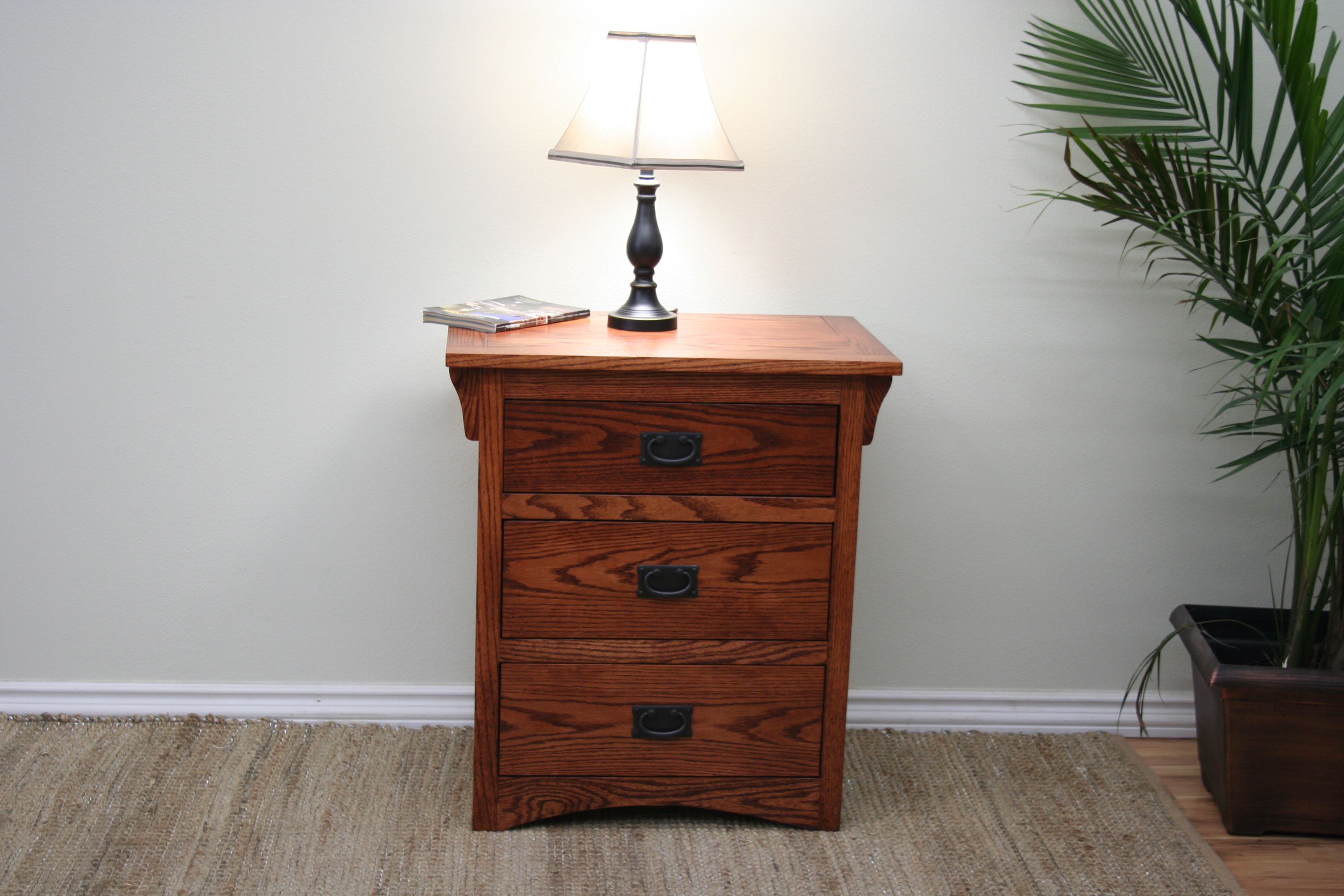 O M450 Mission Oak 3 Drawer Night Stand Odc Products