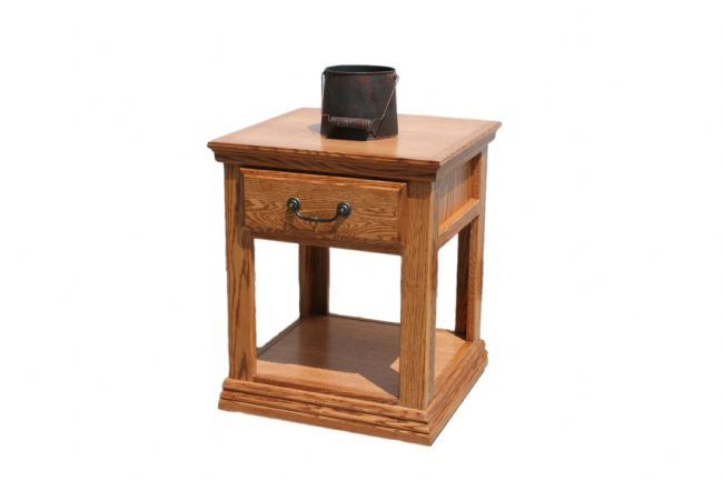 A T248 Traditional Alder 1 Drawer End Table